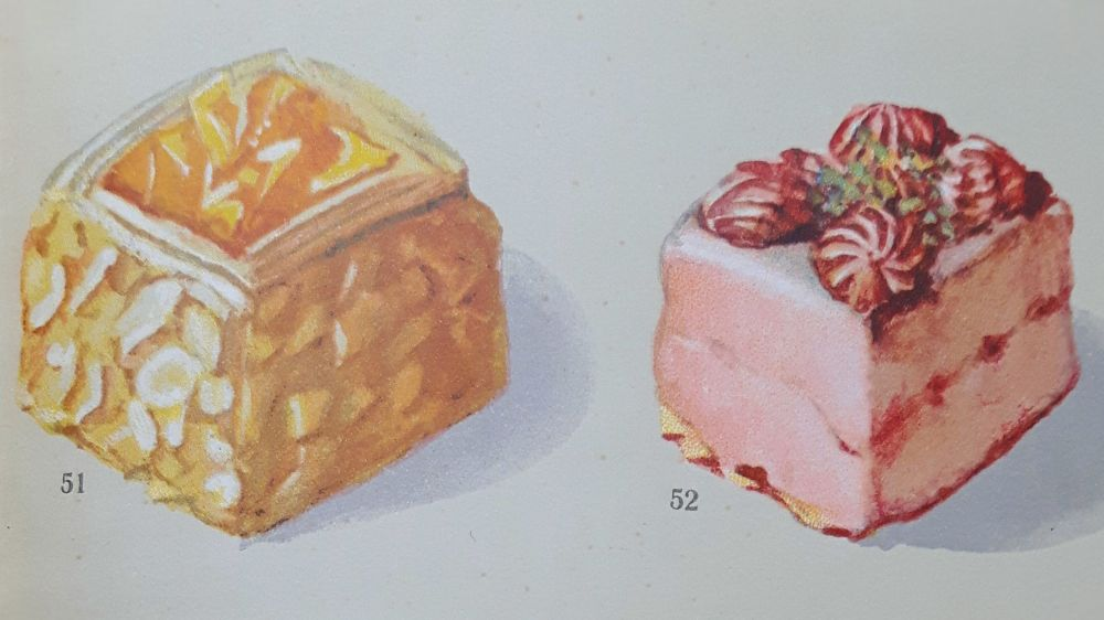 Sweet pastries from Adolf Heckmann's book Das Dessert.