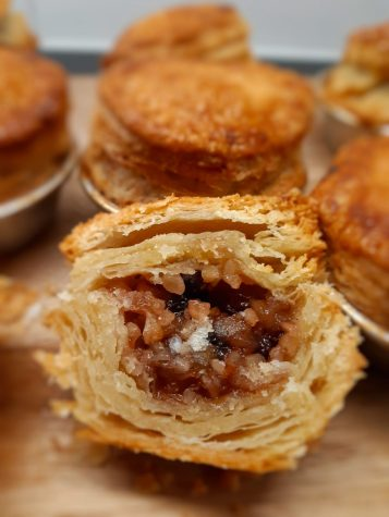 Baked mince pies cut in half